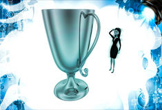 3d woman thinking about big golden cup award illustration Royalty Free Stock Images