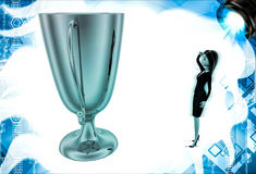 3d woman thinking about big golden cup award illustration Royalty Free Stock Image