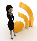 3d woman thinking near wifi icon concept Royalty Free Stock Photos