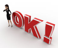 3d woman thinking and standing in front OK text with exclamation mark concept Royalty Free Stock Photography