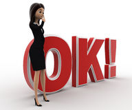 3d woman thinking and standing in front OK text with exclamation mark concept Stock Images