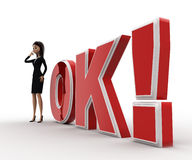 3d woman thinking and standing in front OK text with exclamation mark concept Royalty Free Stock Photo