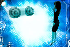 3d woman thinking which button to press yes or no illustration Royalty Free Stock Images