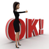 3d woman thumbs up and standing in front OK text with exclamation mark concept Royalty Free Stock Image