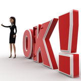 3d woman thumbs up and standing in front OK text with exclamation mark concept Stock Photo