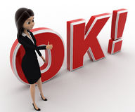 3d woman thumbs up and standing in front OK text with exclamation mark concept Stock Images