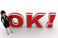 3d woman thumbs up and standing in front OK text with exclamation mark concept Royalty Free Stock Images