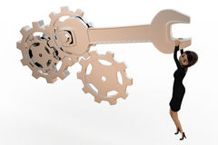 3d woman tightening nut and gears using mechanical wrench concept Stock Photography