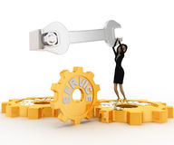 3d woman tightening nut using wrench and service gears with it concept Royalty Free Stock Photo