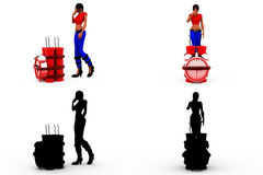 3d woman time bomb concept Collections With Alpha And Shadow Channel Royalty Free Stock Photography