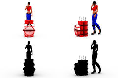 3d woman time bomb concept Collections With Alpha And Shadow Channel Stock Photography