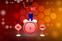 3D woman time illustration Royalty Free Stock Image