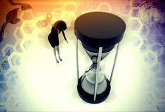 3d woman time machine illustration Stock Photography