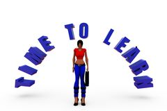 3d woman time to learn concept Stock Photos