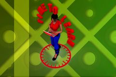 3d woman time to learn illustration Royalty Free Stock Images