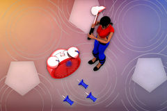 3d woman time tool illustration Stock Images