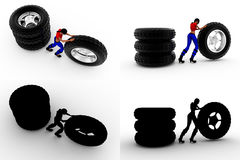 3d woman tire concept collections with alpha and shadow channel Royalty Free Stock Photos
