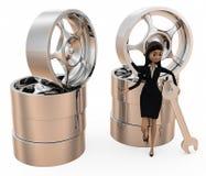 3d woman tire repair concept Stock Photo