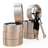 3d woman tire repair concept Royalty Free Stock Photography