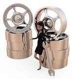 3d woman tire repair concept Stock Photos