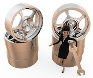3d woman tire repair concept Stock Photography