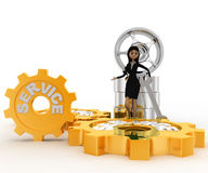 3d woman with tires and wrench and service gears concept Stock Images
