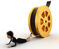 3d woman about to crush by rolling film reel concept Stock Photo