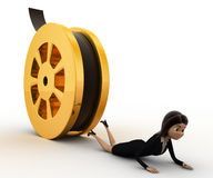 3d woman about to crush by rolling film reel concept Royalty Free Stock Image