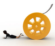 3d woman about to crush by rolling film reel concept Stock Image