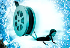 3d woman about to crush by rolling film reel Royalty Free Stock Photos