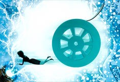 3d woman about to crush by rolling film reel illustration Stock Photo