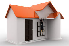 3d woman about to fall from roof of house concept Royalty Free Stock Photography