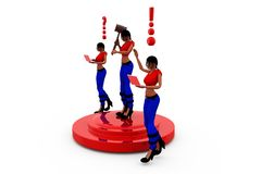 3d woman tool stage concept Royalty Free Stock Images