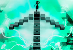 3d woman on top of four way illustration Stock Photography