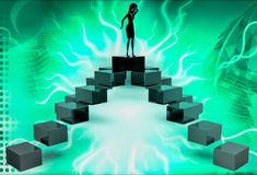 3d woman on top of four way illustration Royalty Free Stock Photo