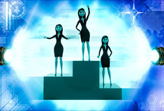 3d woman top winner illustration Royalty Free Stock Photo