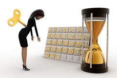 3d woman with toy key and calendar and sand clock concept Royalty Free Stock Images