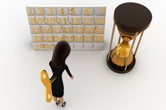 3d woman with toy key and calendar and sand clock concept Stock Images