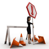 3d woman with traffic cone and exclamation sign board concept Royalty Free Stock Image