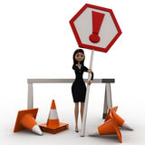 3d woman with traffic cone and exclamation sign board concept Stock Photography