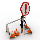 3d woman with traffic cone and exclamation sign board concept Stock Photos
