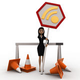3d woman with traffic cone and wifi sign board concept Royalty Free Stock Photo