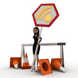 3d woman with traffic cone and wifi sign board concept Royalty Free Stock Photos