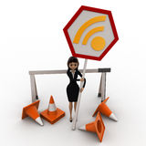 3d woman with traffic cone and wifi sign board concept Royalty Free Stock Photography