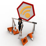 3d woman with traffic cone and wifi sign board concept Stock Images