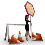 3d woman with traffic cone and wifi sign board concept Stock Photography