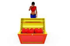 3d woman treasure box concept Stock Photo