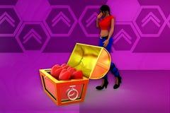 3d woman treasure box illustration Royalty Free Stock Photography