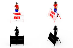 3d woman truth myth concept Collections With Alpha And Shadow Channel Royalty Free Stock Photos