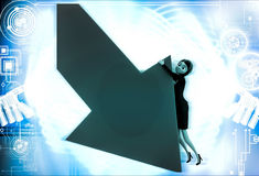 3d woman try to hold falling arrow graph illustration Royalty Free Stock Photography